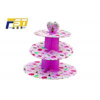 Buy cheap 3 Tiers Full Color Printing Cardboard Paper Cupcake Display Stand Easy to Assembled from wholesalers