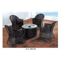 Buy cheap Large round wood dining tables and 4 armchairs from wholesalers