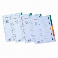 China A4 Size Index Divider and File Folders, Made of PP, with 5 to 31 Pages Tab Capacity on sale