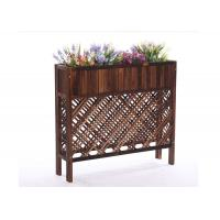 Buy cheap Balcony Mesh Shape Wooden Flower Shelf , Colorful Wooden Plant Stand Antiseptic Wood Fence from wholesalers