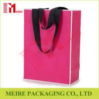 Buy cheap Recycled Medium Pink color printing Paper Carrier Bags with customized LOGO and black handle from wholesalers