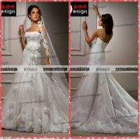 Buy cheap Elegant White Tulle Skirt Lace Appliqued Alibaba Wedding Dress With Long Train from wholesalers