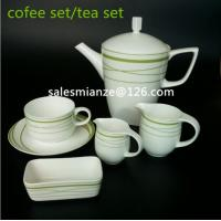 Buy cheap Elegant Bone China Green Color 15PCS Tea and Coffee Sets ceramic 250ml Cup with Saucer 1200ml coffee pot Coffee Sets from wholesalers