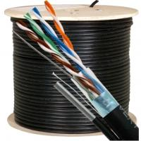 Buy cheap 300 Volts UTP CAT5E Cable with Zinned Steel Messenger 24 AWG Black for Security Camera from wholesalers