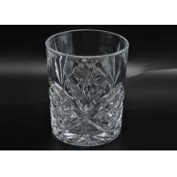 Buy cheap 313ml Leave Pattern Embossment Clear Votive Glass Candle Holders Replacement Candle Jar from wholesalers