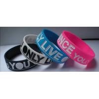 Buy cheap YOLO wristband, YOU ONLY LIVE ONCE, filled in colour, promotion gift Sports Silicone Bracelets from wholesalers