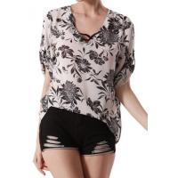 Buy cheap summer chiffon printed elegant ladies casual tops blouse for women girl Chiffon Dress from wholesalers