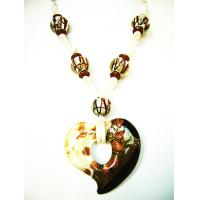 Buy cheap White black mixed heart Glass Pendants Necklaces Gold foil from wholesalers