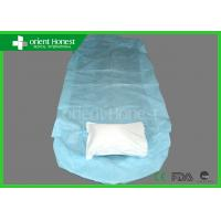 Buy cheap Light Blue Pp Pe Laminated Disposable Bed Protectors Rubber On Two Ends from wholesalers