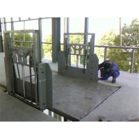 Buy cheap 3-6m/min 4m guide rail lift platform With checkered steel plate from wholesalers