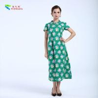 Buy cheap Green Sexy Women Floral Cheongsam Qipao Dress Cotton Blend Fabric For Party from wholesalers