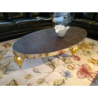 Buy cheap Wooden Low Retro Console Modern Oval Coffee Tables with Gold Legs for Home from wholesalers