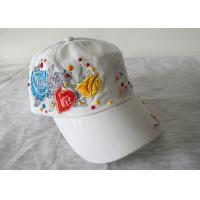 Buy cheap 3D Embroidery Flower Cotton Baseball Cap, Customized Womens Baseball Caps With Adjustable Velcro from wholesalers