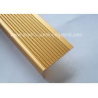 Buy cheap Solid Anodized Brass Aluminum Stair Nosing Profiles , Metal Stair Nosing For Wood Stairs from wholesalers