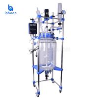 Buy cheap Double layer agitated stirred tank jacketed glass reactor for chemical from wholesalers