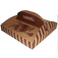 Buy cheap Stripe Folding Brown Paper Box Packaging With Handle For Pizza product