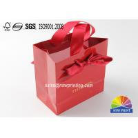 Buy cheap Hot Stamping Logo Exquisite Small Personalised Paper Bags With Ribbon Handle from wholesalers