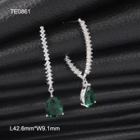 Buy cheap OLF Korea Fashion Women 925 Sterling Silver CZ & Green Quartz Drop Stud  Earring from wholesalers
