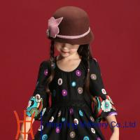 Buy cheap Kids Wool Felt Fedora Hat Bucket Hat Hand made WInter Hat In Yellow / Grey from wholesalers