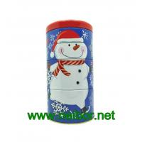 Buy cheap 4 floors stackable Christmas holiday round decorative tin container from wholesalers