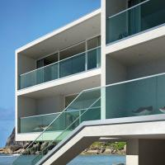 Buy cheap Exterior outdoor terrace deck U channel base aluminum modern design grey glass railing from wholesalers