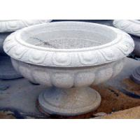 Buy cheap White Stone Garden Sculptures Carved Large Granite Flower Pots For Backyard Ornaments from wholesalers