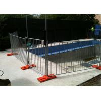 Buy cheap temp pool fence panels 1100mm*2300mm hot dipped galvanized in zinc pool with orange color base from wholesalers