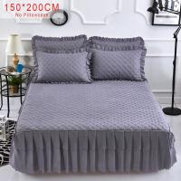 Buy cheap Pink Purple Grey Solid Cotton Single Double Bed Mattress Cover Petticoat hotel bed sheet Queen Bed Bedspread bedding set from wholesalers