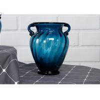 Solid Custom Big Glass Vase Decoration , Hotel Blue Handmade Glass Vase
