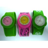 Buy cheap OEM Four Printing Color Rhinestone Slap Silicone wristband Watches for Youth from wholesalers