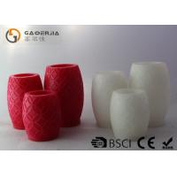 Buy cheap Red White Real Wax LED Candles Carved Finish With Ellipse Shape from wholesalers