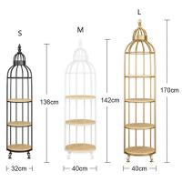 Buy cheap Interior Decoration Metal Display Racks And Stands Creative Bird Cage Shape Flower Shelf from wholesalers
