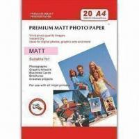 Buy cheap 108gsm Matte Coated Photo Paper, Compatible with Pigment and Dye Ink, Water-resistance product