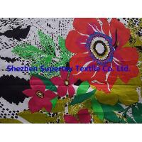 Buy cheap Custom Fully Combed Sateen Cotton Fabric With Orange Flowers Print from wholesalers