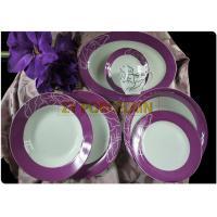 Purple Decorative  22 pcs Porcelain  Round Dinnerware Sets Environmental And Durable