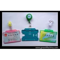 Buy cheap Hard custom color ID card holder with plastic badge reel with logo printing office using from wholesalers