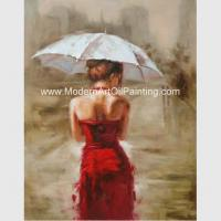Buy cheap Acrylic Modern Art Oil Painting Decorative Wall Art Girl with Red Dress  on Canvas from wholesalers