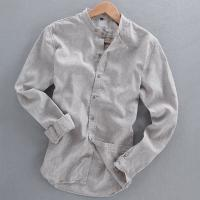 Buy cheap Men's shirts casual linen shirt collar long-sleeved shirt short-sleeved shirt from wholesalers