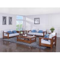 Buy cheap High end quality 1+2+3 Solid wood Leisure sofa set by Fabric and density sponge upholstered seat cushion product