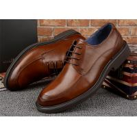 Buy cheap Almond Moc Toe Brown Derby Dress Shoes , High End Mens All Leather Dress Shoes from wholesalers