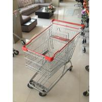 Red Plastics Supermarket Push Cart , 160 L Steel Shopping Cart