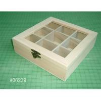 Buy cheap wooden tea box with 9 dividers, acrylic window, hinged & clasp from wholesalers