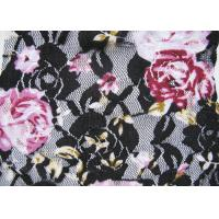 Buy cheap Flower Black / White Digital Printed Stretchy Lace Fabric Or Wedding Dresses from wholesalers