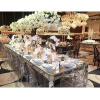 Buy cheap Aisles Wedding Silver Mirrored Dining Table Rectangle Type Strong Struture from wholesalers