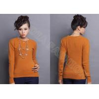 Buy cheap Autumn Winter Orange Women Crew Neck Sweater Fine Knit Clothing With Long Sleeve from wholesalers