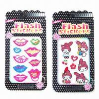 Buy cheap Glitters/shinning stickers, various designs and sizes are available, eco-friendly, non-toxic product