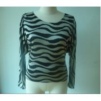 Buy cheap Zebra Metallic Printing Womens Fashion Tops Back Drapped Girls Casual T Shirts from wholesalers
