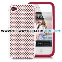 Buy cheap cute iphone 4S cases -42363 Ventilated Plastic And Silicone Case For iPhone 4 - White & Red from wholesalers
