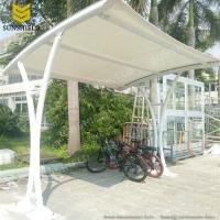 Single slope steel fabric carport with arched roof fabric for Single slope carport