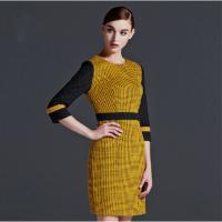 Buy cheap Winter Slim Waist Long Sleeve Wool / Polyester Formal Office Dresses For Ladies from wholesalers